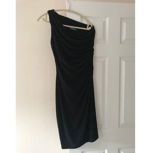 Ralph Lauren Black One Shoulder Dress